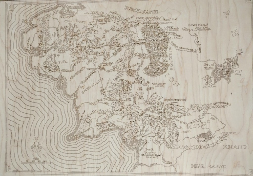 Lord of the Rings Map.  It is 32 x 24 done on maple plywood.