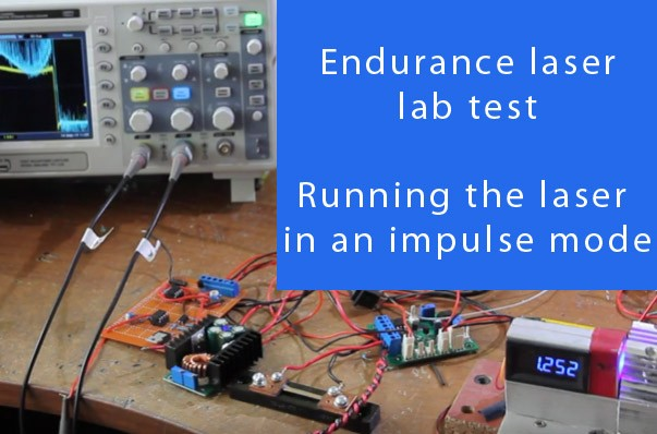 Running an Endurance lasers in impulse mode. Max optical power output is 16 watt (second test).