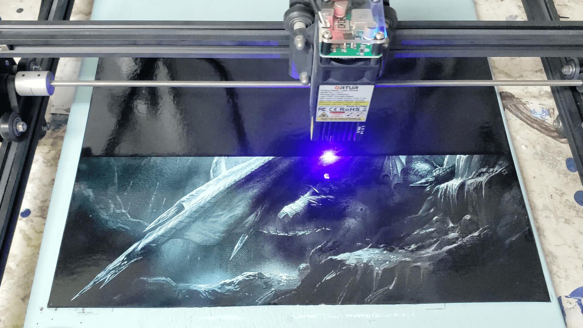 Laser ice dragon painting